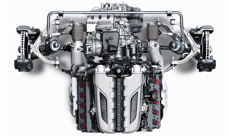 The mid-engine concept of the Audi R8 Spyder V10 RWS offers high stability at high speed.
